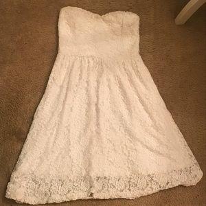 Nymphe white lace strapless dress